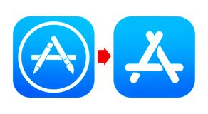 Old AppStore and new App Store icons royalty free stock photo