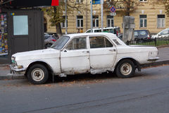 Kiev, Ukraine - September 25, 2015: Old soviet-made car is parked in the street Royalty Free Stock Photo