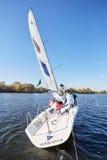 Kiev, Ukraine - September 30, 2016: Sailing yacht training day. Before race on the reservoir Royalty Free Stock Photo