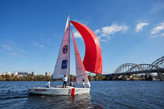 Kiev, Ukraine - September 30, 2016: Sailing yacht training day. Before race on the reservoir Royalty Free Stock Photos
