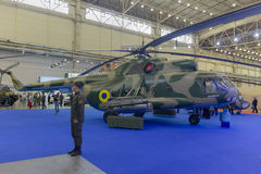 Kiev, Ukraine - September 08, 2015: Upgraded Mi-8 helicopter at the specialized exhibition Royalty Free Stock Photography
