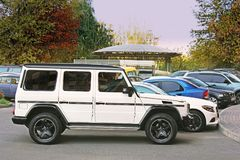 Kiev, Ukraine - September, 2017: White Mercedes-Benz G 63 AMG in the private sector in the parking lot stock photo