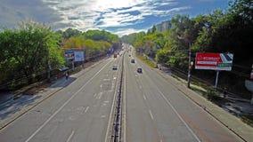 Fast traffic in Kiev. KIEV, UKRAINE - SEPTEMBER 18, 2017: The wide road with fast traffic on Oleny Telihu street, on September 18 in Kiev stock video