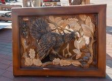 Kiev, Ukraine - September 22, 2015: Work of masters of woodcarving Royalty Free Stock Image