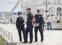 Kiev, Ukraine - 4 septembre 2015 : Les policiers sont en service Photographie stock