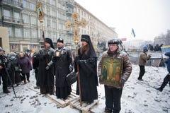 KIEV, UKRAINE: Snowfall on the winter street with  Stock Photos