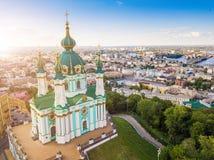 Kiev Ukraine St Andrew`s Church . View from above. aerial photo. Kiev attractions. Famouse Kiev Ukraine St Andrew`s Church . View from above. aerial photo. Kiev royalty free stock photos