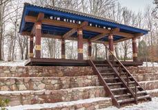 KIEV, UKRAINE : Stupa d'éclaircissement et un belvédère pour le meditati Photos stock