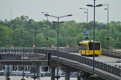 Kiev, Ukraine/ Ukraine- 7.05.2019; Transport in Kiev  and city life. Yellow bus, cars stock images
