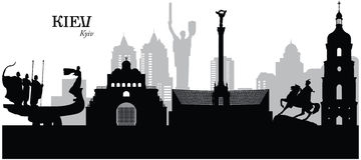 Kiev, Ukraine. Vector illustration of the cityscape skyline of Kiev, Ukraine Royalty Free Stock Photos