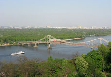 Kiev, Ukraine. View of Dnepr and Park foot bridge Royalty Free Stock Image