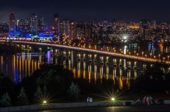 Night panorama to residential areas of a big city Royalty Free Stock Photography