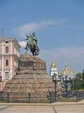 Kiev, Ukraine. View of a monument to Bogdan Khmelnytsky and Sacred Mikhay Stock Photography