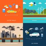 Kiev, Ukraine Voitures électriques et voiture essence Photo libre de droits