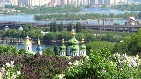 Kiev, Ukraine. Vydubitsky Saint Michael monastery and river Dnepr stock video
