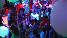 KIEV, UKRAINE - Yanuary 11, 2017: People dancing at the night club stock footage