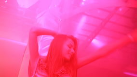 KIEV, UKRAINE - Yanuary 11, 2017: Sexy young girl dancing at the night club stock footage