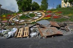 Kiev under ockupation av katolska bönder från västra Ukraina arkivfoto