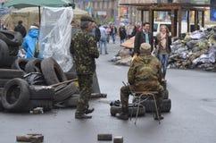 Kiev under ockupation av katolska bönder från västra Ukraina royaltyfri fotografi