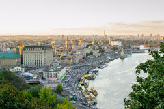 Kiev. View of the Dnieper River and area Podol. Royalty Free Stock Photography