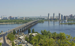 Kiev, view on river Dnepr. Kiev, Ukraine - May 02, 2012: view on panorama of the city with bridge on river Dnepr royalty free stock photography