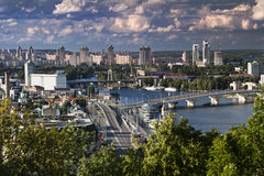 Kiev viewsight. Summer viewsight in Kiev center near rriver Dnipro Royalty Free Stock Images