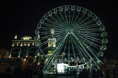 Ferris wheel, Kontraktova Square, Kiev winter, Podol, new 2017 year eve. Kiev winter, Podol, new 2017 year eve, Ferris wheel Kontraktova Square royalty free stock photo