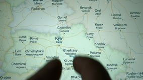 Kiev on the world map stock footage