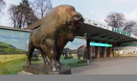 The Kiev Zoo. The main entrance to the zoo. Sculpture of the Bison. Kiev, Ukraine - April 11, 2018. The Kiev Zoo. The main entrance to the zoo. Sculpture of the stock photos