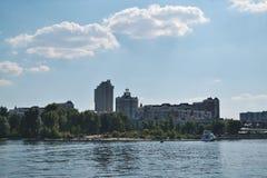 Kievskaya nature. Water. Dnieper. Recreation. Fresh air. Summer. Heat. Stroll. Building Royalty Free Stock Photo