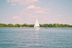 Kievskaya nature. Water. Dnieper. Sail. Royalty Free Stock Images