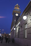 Kievskiy railway station by night in Moscow, Russia Royalty Free Stock Photography