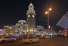 Kievskiy railway station by night in Moscow, Russia Royalty Free Stock Photos