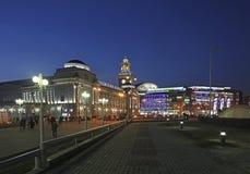 Kievskiy railway station by night in Moscow, Russia Royalty Free Stock Photo