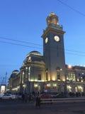 Kievskiy railway station by night in Moscow, Russia Stock Image