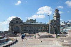 Kievsky火车站和欧洲广场在莫斯科,俄罗斯 库存图片