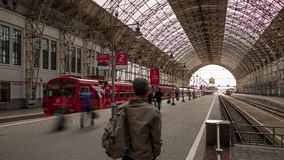 Kievsky Railway Station in Moscow, Russia. Aeroexpress of the RZD Russian railway company in the Kievsky Rail Terminal, Moscow, Russia. The Kievsky Railway stock footage