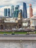 Kievsky railway station. MOSCOW, RUSSIA - JUNE 6, 2017: Kievsky train station and international business center `Moscow-city` on background Stock Photo