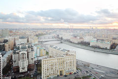 Kievsky Railway Station and Moskva river in cloudy evening Royalty Free Stock Photo