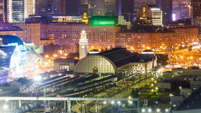 Kievsky Railway Station at night. Kievsky Railway Station and Europe Square at night in Moscow, Russia Royalty Free Stock Image