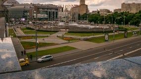 Kievsky Railway Station Square fountain, zoom, pan Stock Photography