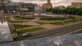 Kievsky Railway Station Square fountain, zoom, pan Royalty Free Stock Photo