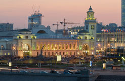 Kievsky train station. Moscow. Moscow nigh. Kievsky train station and international business centre as seen from the Moskva River embankment. Moscow, Russia Royalty Free Stock Images