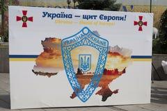 In Kiew auf Khreshchatyk-Militärparade Stockbild