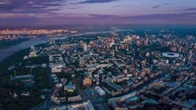 Kiew in der Glättungszeitspanne Ansicht von oben Maidan Nezalezhnosti, historische Mitte von Kiew Luftgesamtl?nge stock video