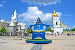 Kiew, goldenes Kathedralenstadtbild, Symbole des UEFA-Meister-Liga-Schluss-2018, Ukraine, Lizenzfreie Stockfotos