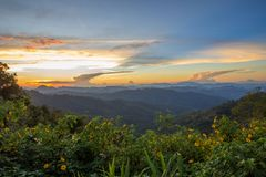 Impressive scenery during sunset from Kiew Lom viewpoint,Pang Mapa districts,Mae Hong Son,Northern Thailand. Kiew Lom viewpoint is on highway 1095 between Pai Stock Photo