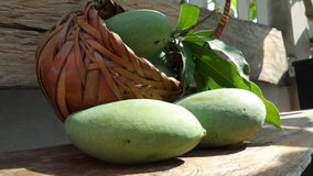 Kiew Savoey mango in palm basketry Royalty Free Stock Photo