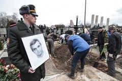KIEW, UKRAINE - April 3, 2015: Begräbnis- Zeremonie für ukrainischen Soldaten Igor Branovitskiy, der in der Ost-Ukraine getötet w Lizenzfreie Stockbilder
