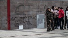 Kiew, Ukraine am 19. April 2019 MA-Pr?sidentendebatte 2019 Stadion Kiews Olympiyskiy stockfotos